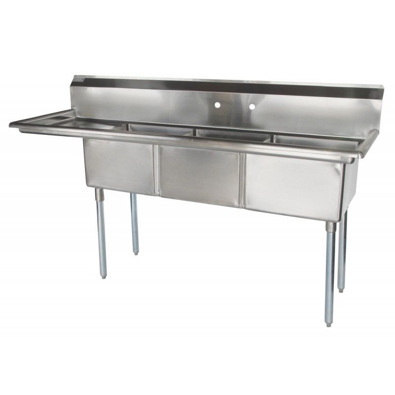 new greenworld 3 compartment sink with left hand drainboard